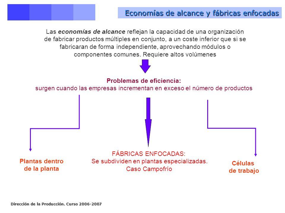 Economías de alcance y fábricas enfocadas Problemas de eficiencia: