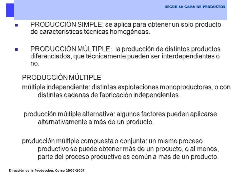 SEGÚN LA GAMA DE PRODUCTOS