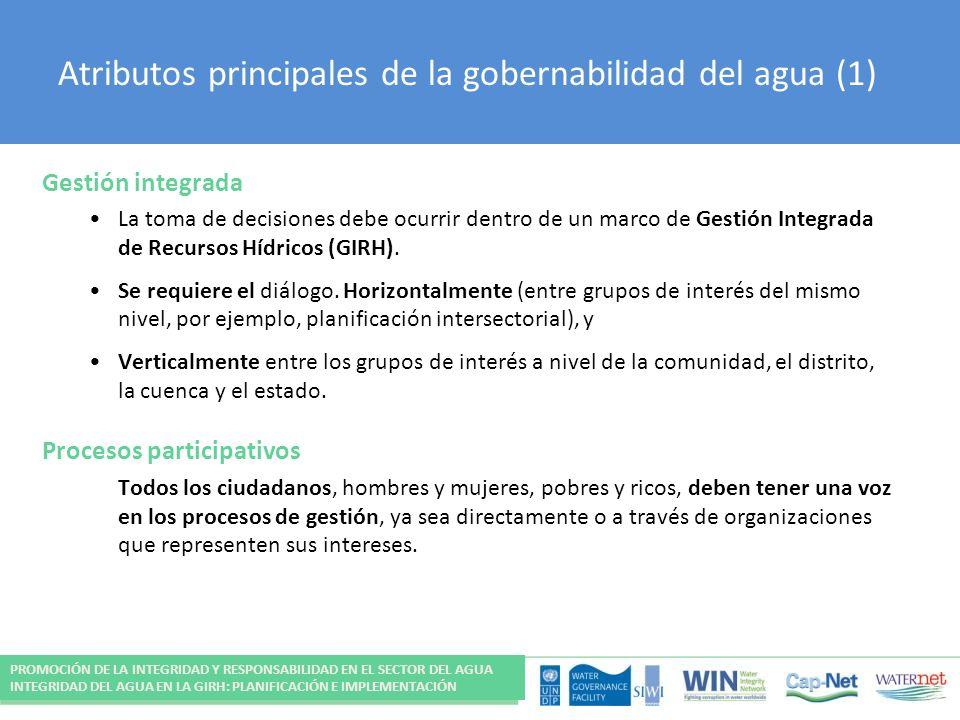 Atributos principales de la gobernabilidad del agua (1)