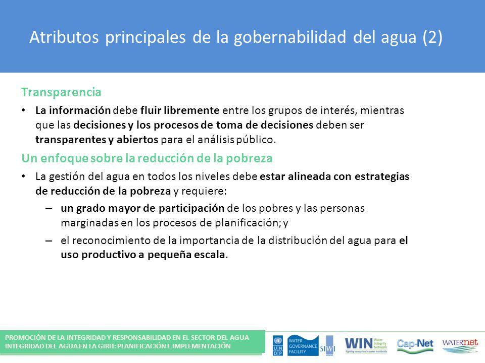 Atributos principales de la gobernabilidad del agua (2)