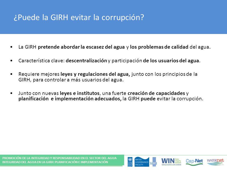 ¿Puede la GIRH evitar la corrupción