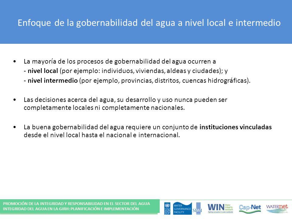 Enfoque de la gobernabilidad del agua a nivel local e intermedio