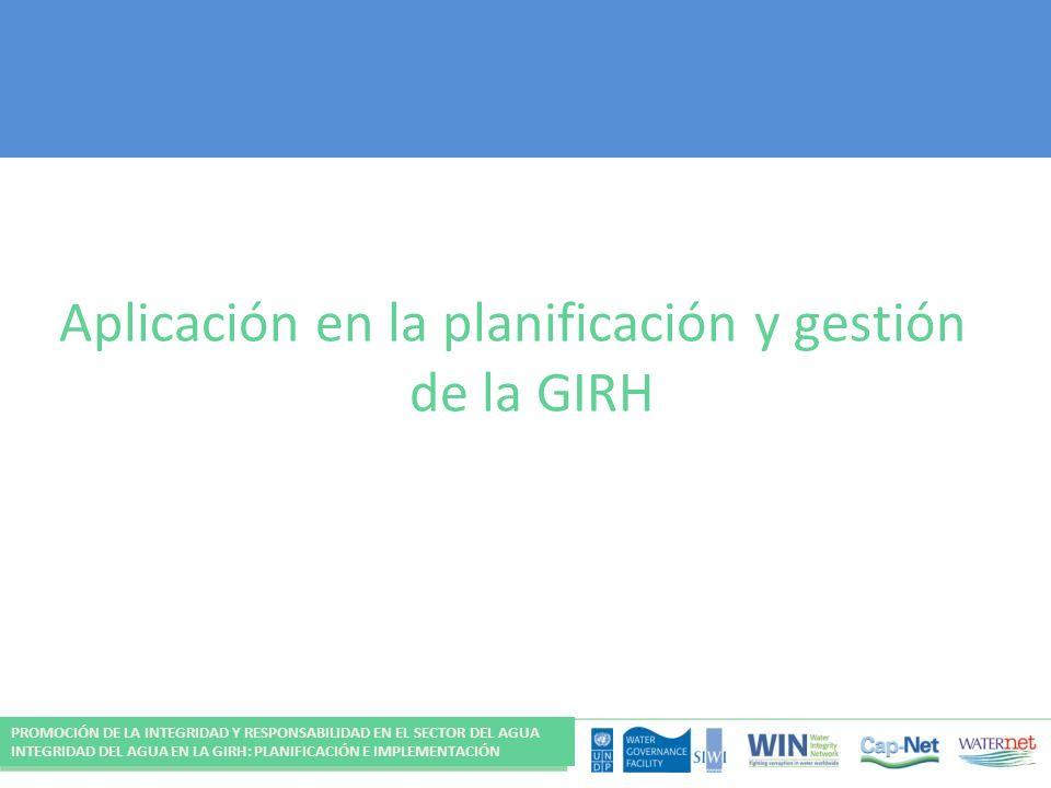 Aplicación en la planificación y gestión de la GIRH