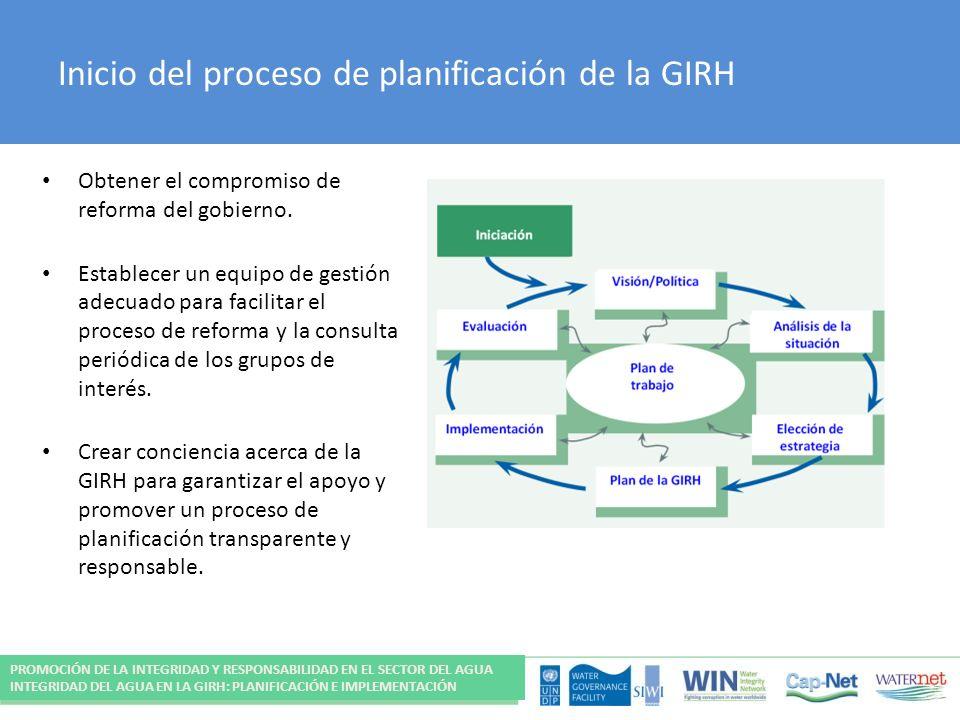 Inicio del proceso de planificación de la GIRH