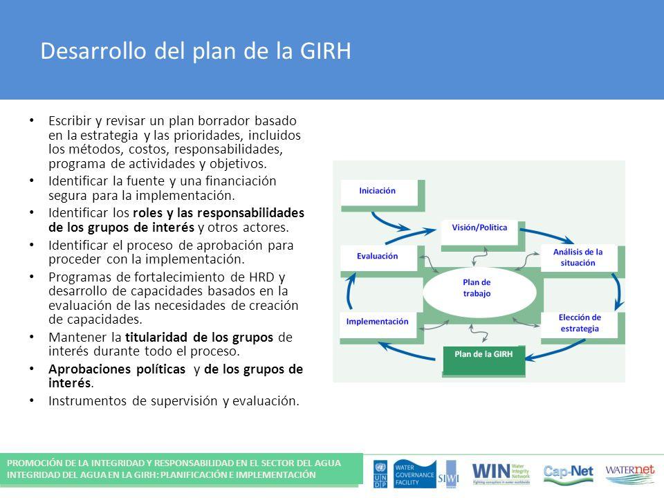 Desarrollo del plan de la GIRH