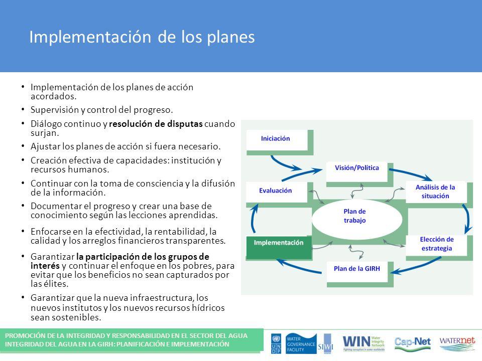 Implementación de los planes