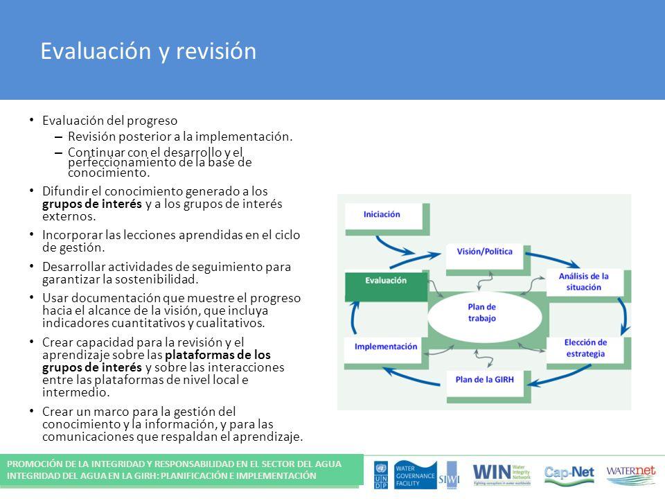 Evaluación y revisión Evaluación del progreso