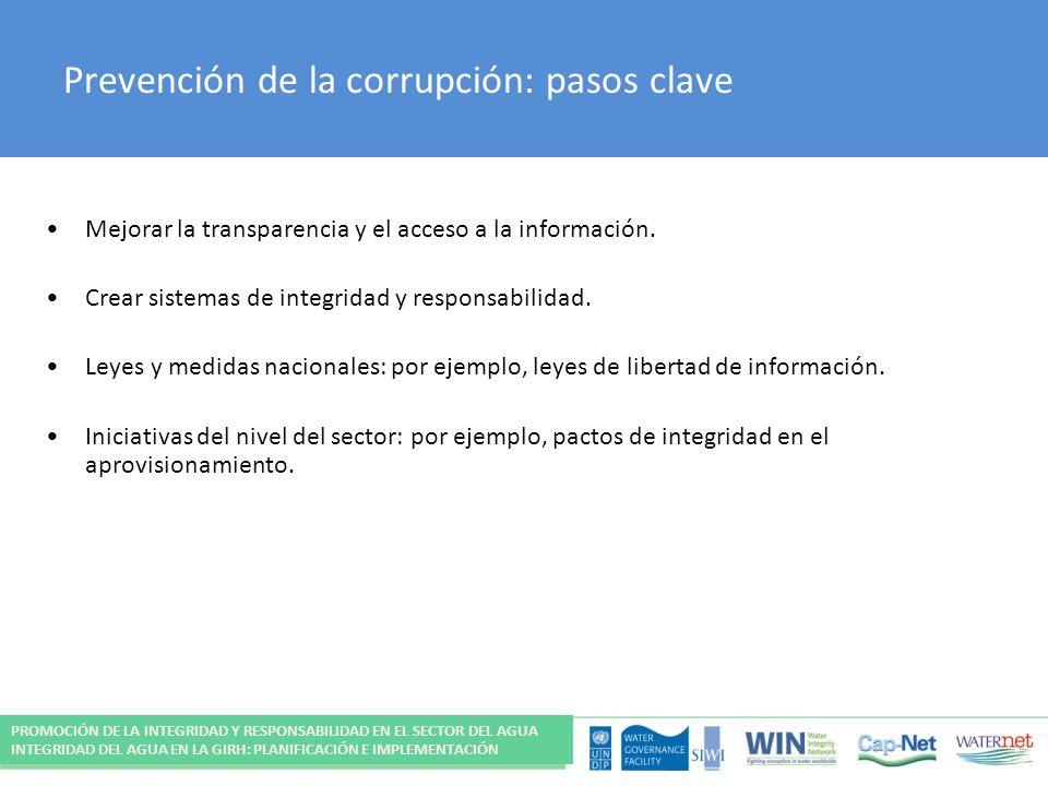 Prevención de la corrupción: pasos clave
