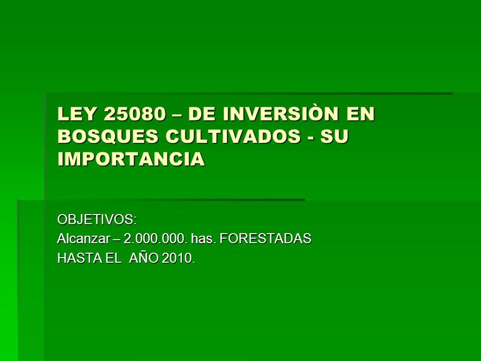 LEY 25080 – DE INVERSIÒN EN BOSQUES CULTIVADOS - SU IMPORTANCIA
