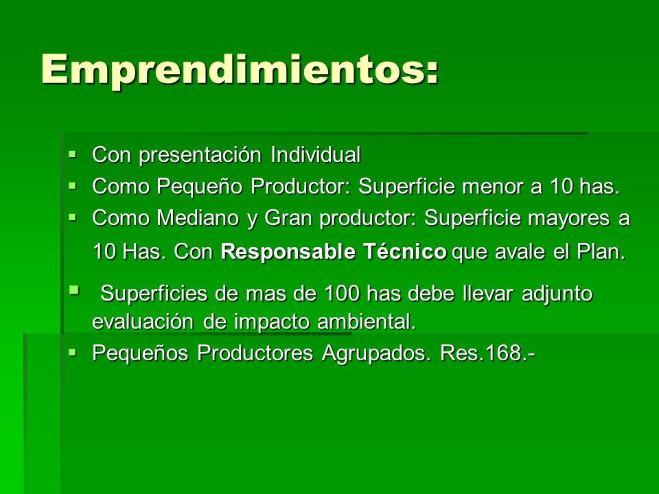 Emprendimientos: Con presentación Individual. Como Pequeño Productor: Superficie menor a 10 has.