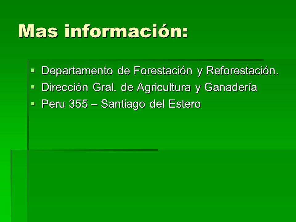 Mas información: Departamento de Forestación y Reforestación.