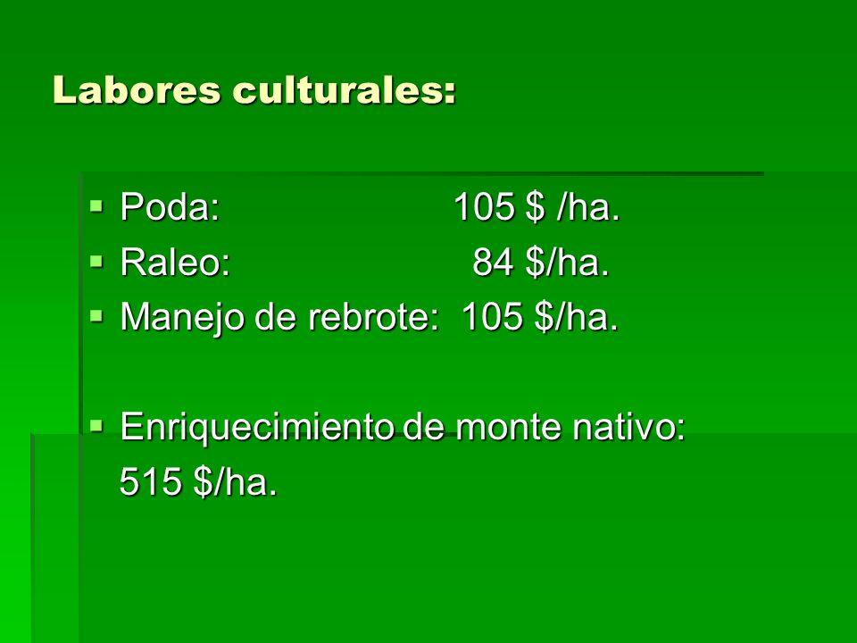 Labores culturales: Poda: 105 $ /ha. Raleo: 84 $/ha. Manejo de rebrote: 105 $/ha.