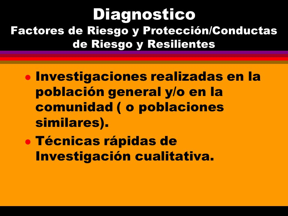 Diagnostico Factores de Riesgo y Protección/Conductas de Riesgo y Resilientes