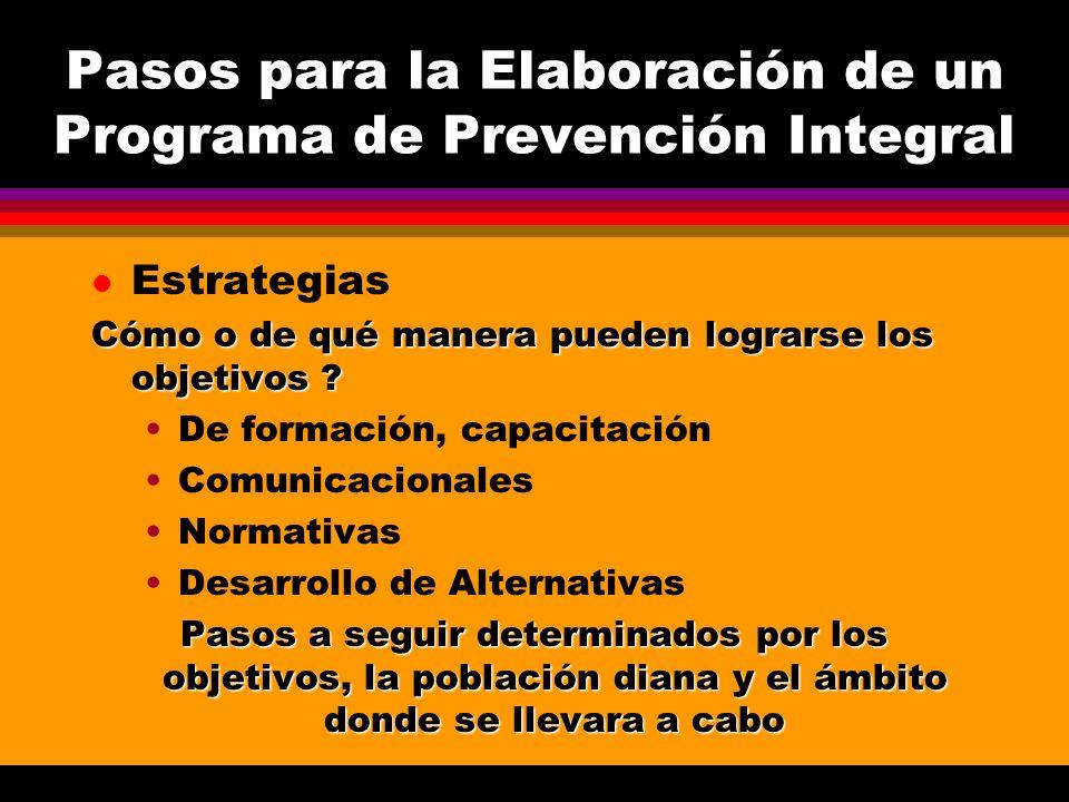 Pasos para la Elaboración de un Programa de Prevención Integral