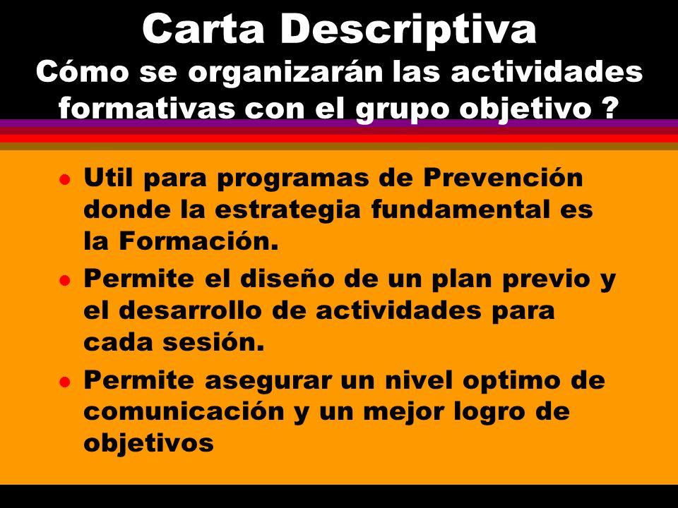 Carta Descriptiva Cómo se organizarán las actividades formativas con el grupo objetivo