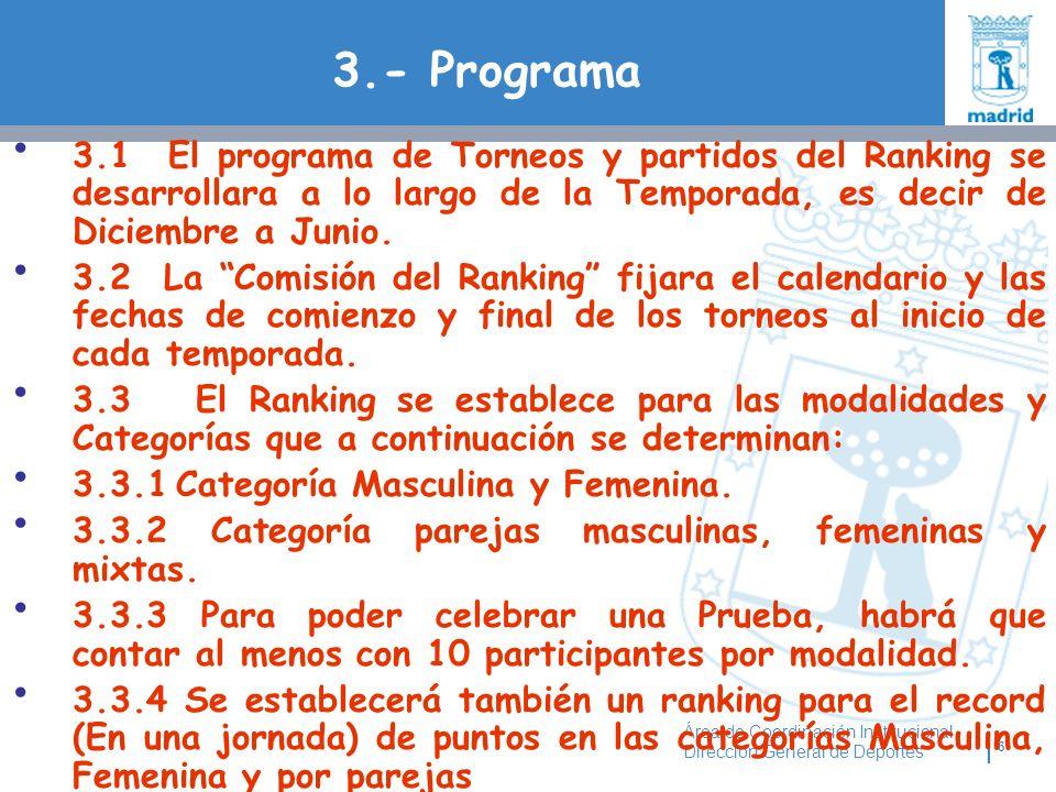 3.- Programa 3.1 El programa de Torneos y partidos del Ranking se desarrollara a lo largo de la Temporada, es decir de Diciembre a Junio.