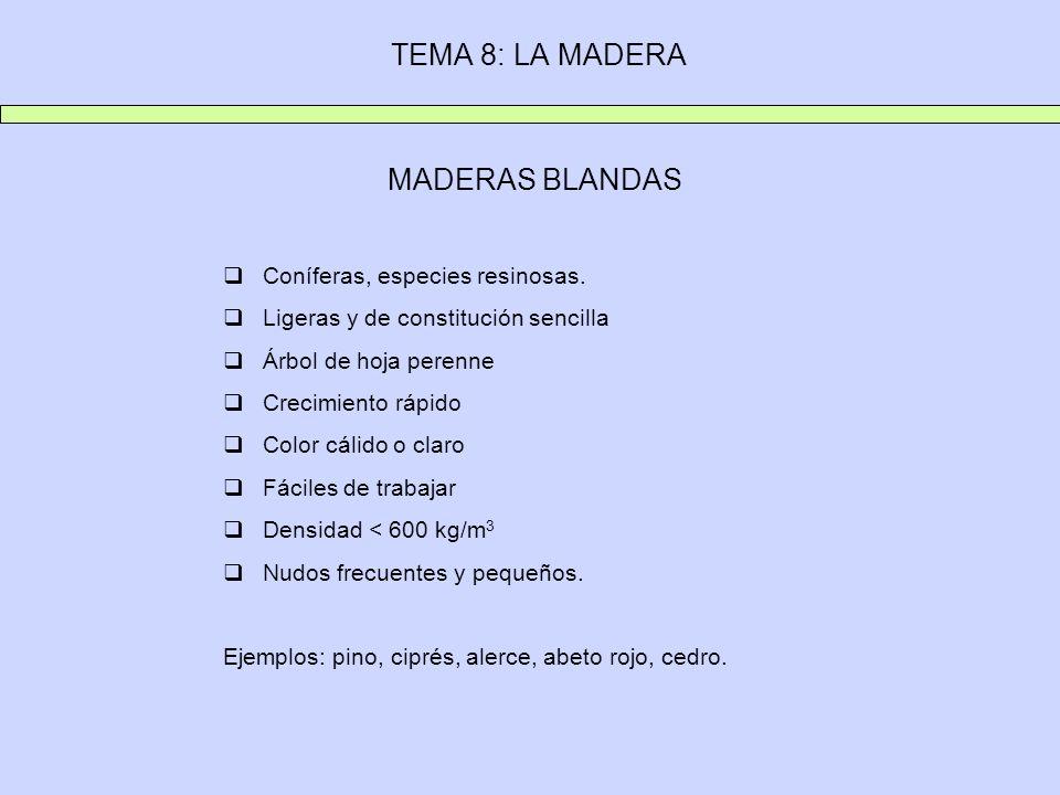 TEMA 8: LA MADERA MADERAS BLANDAS Coníferas, especies resinosas.
