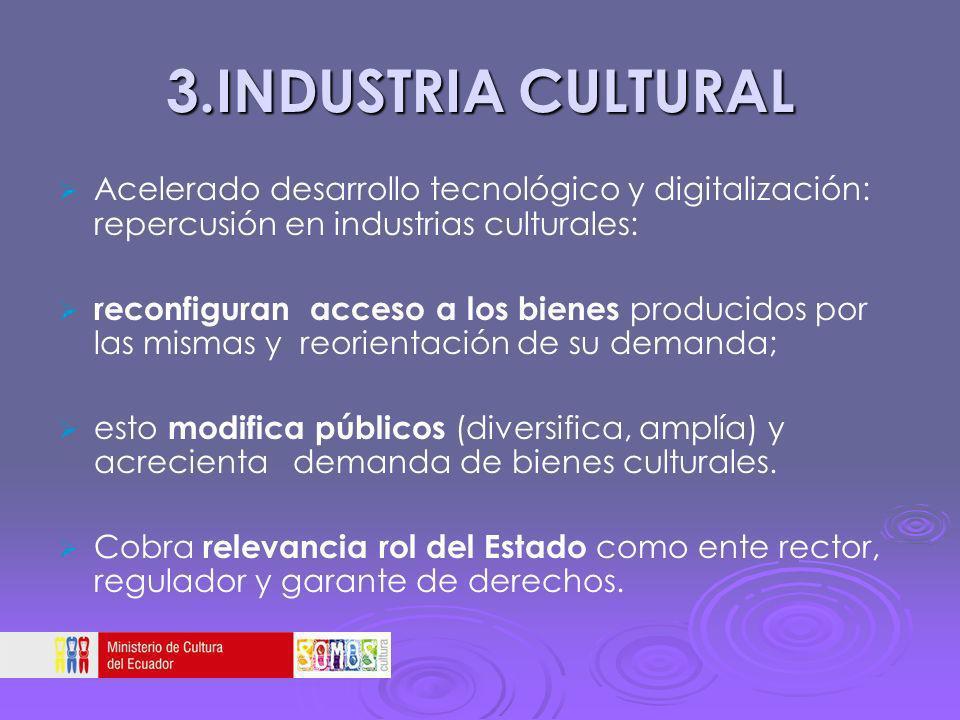 3.INDUSTRIA CULTURAL Acelerado desarrollo tecnológico y digitalización: repercusión en industrias culturales: