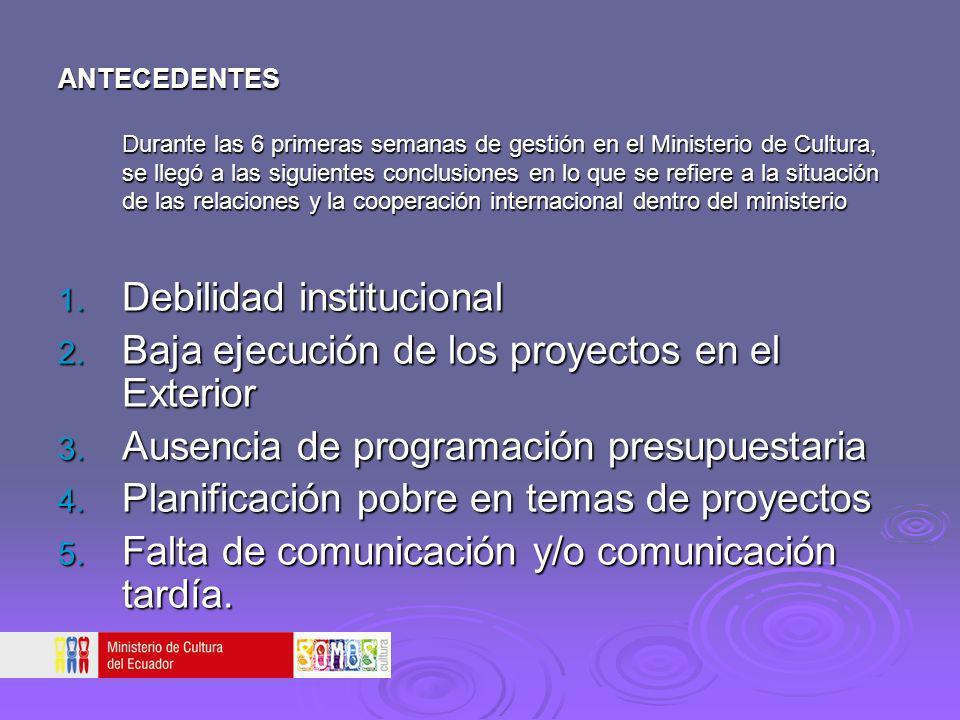 Debilidad institucional Baja ejecución de los proyectos en el Exterior