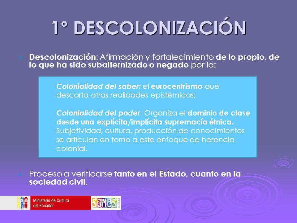 1° DESCOLONIZACIÓN Descolonización: Afirmación y fortalecimiento de lo propio, de lo que ha sido subalternizado o negado por la: