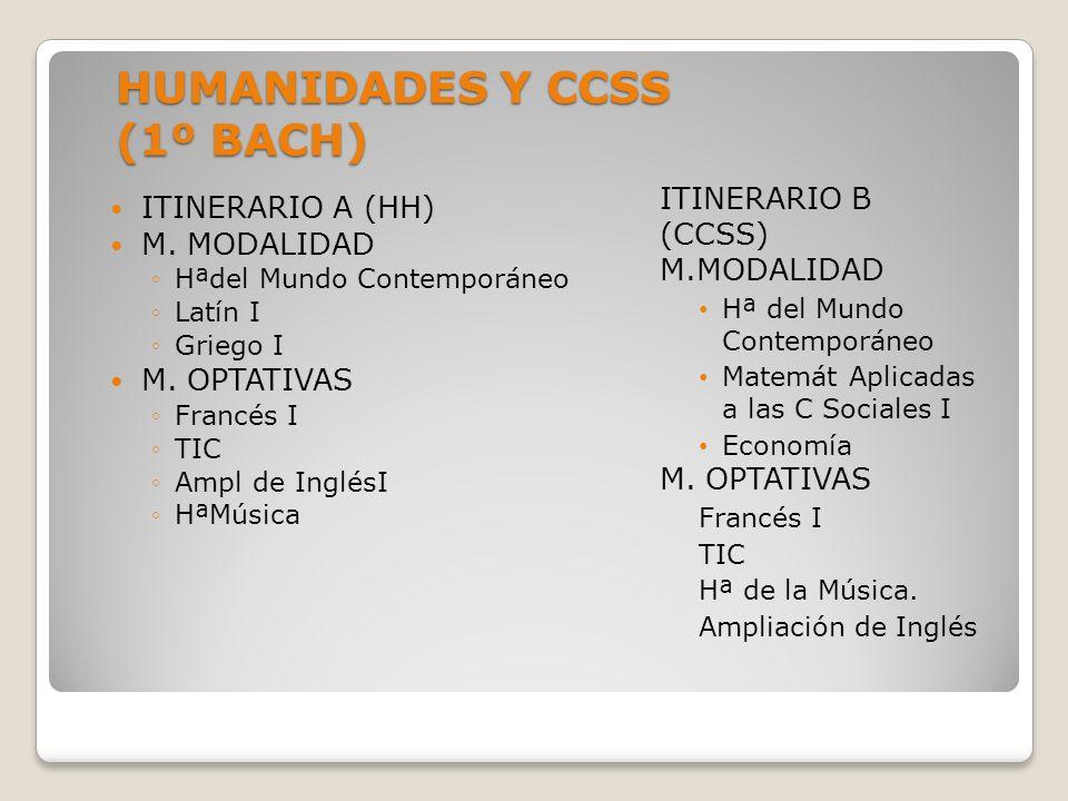 HUMANIDADES Y CCSS (1º BACH)