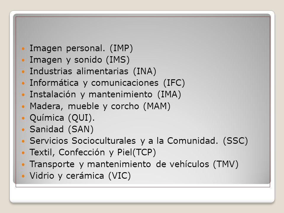 Imagen personal. (IMP) Imagen y sonido (IMS) Industrias alimentarias (INA) Informática y comunicaciones (IFC)