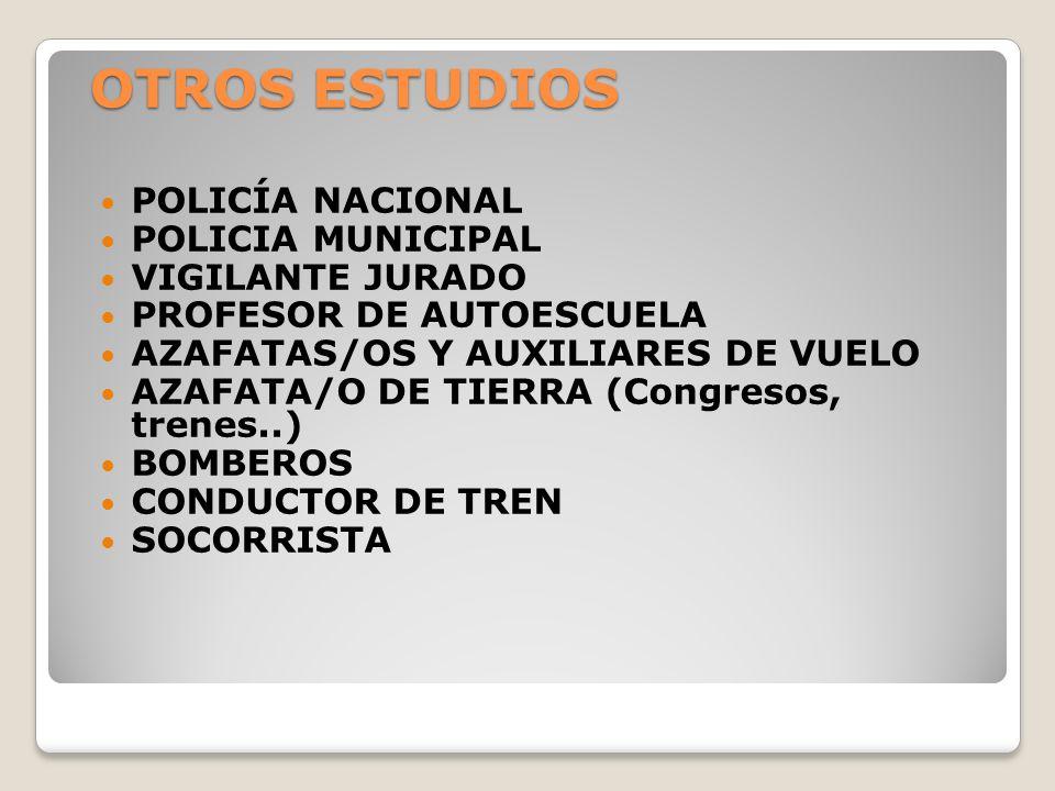 OTROS ESTUDIOS POLICÍA NACIONAL POLICIA MUNICIPAL VIGILANTE JURADO