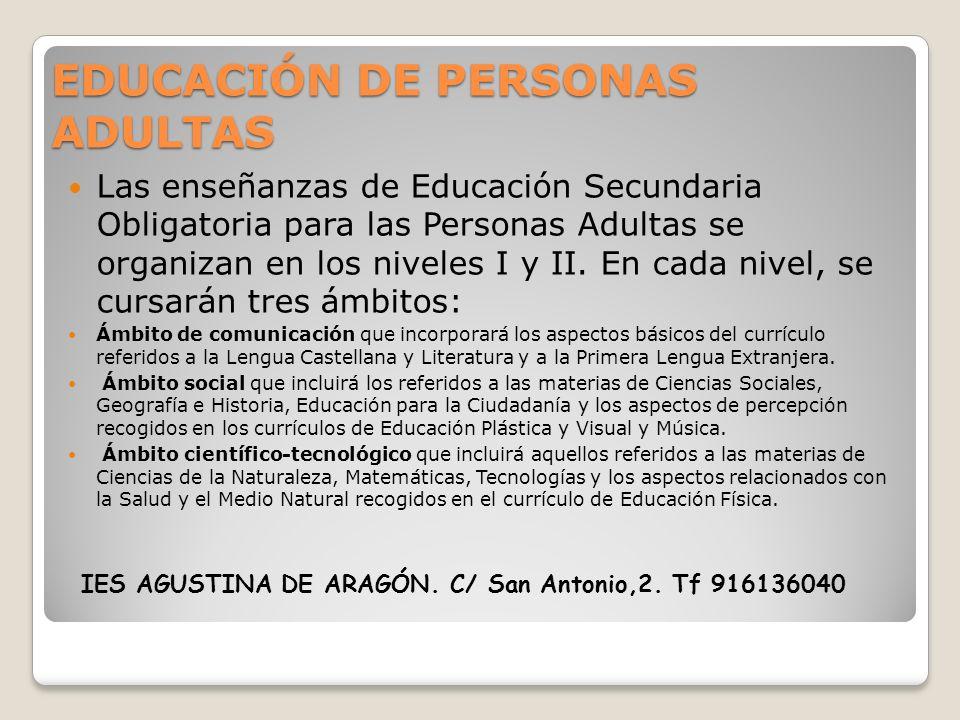 EDUCACIÓN DE PERSONAS ADULTAS