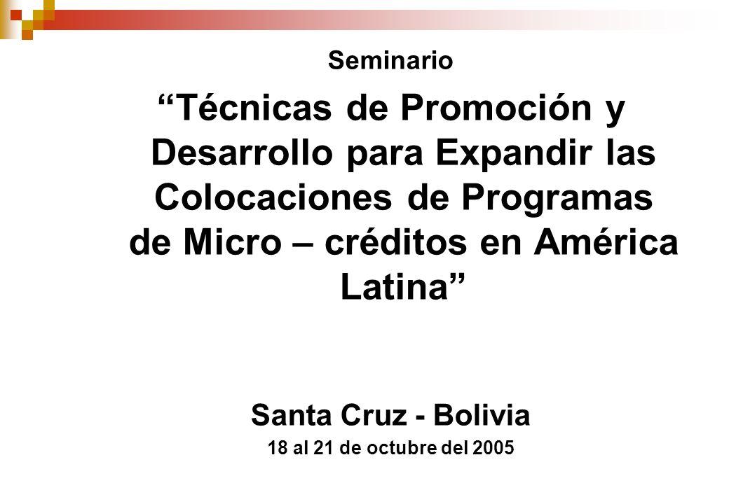 Seminario Técnicas de Promoción y Desarrollo para Expandir las Colocaciones de Programas de Micro – créditos en América Latina