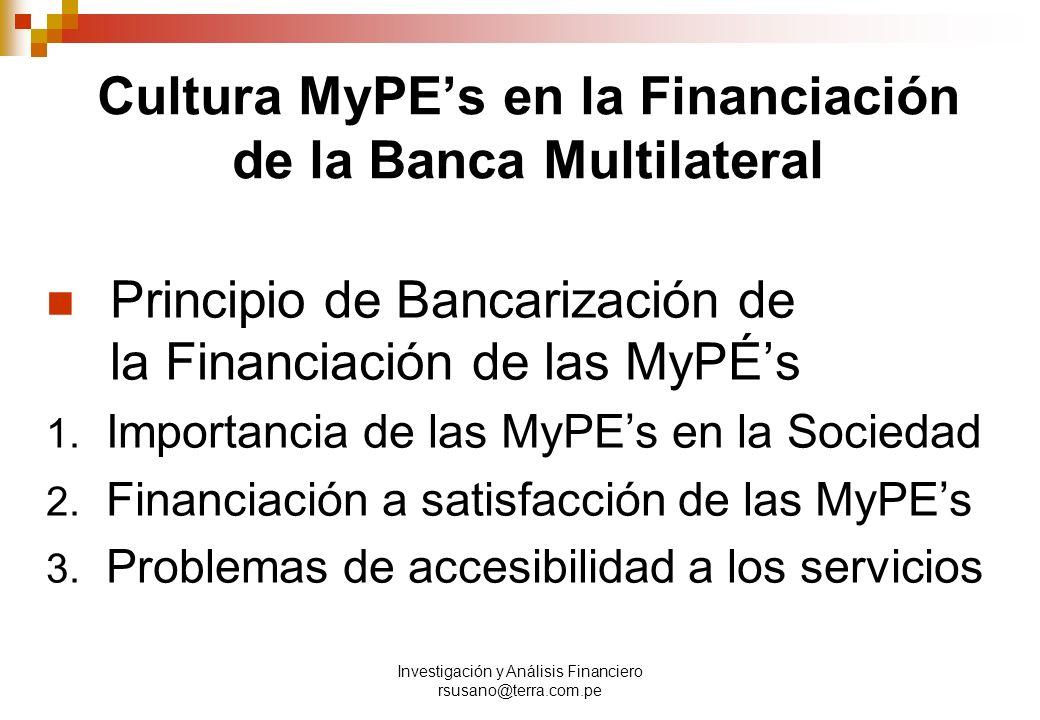 Cultura MyPE's en la Financiación de la Banca Multilateral