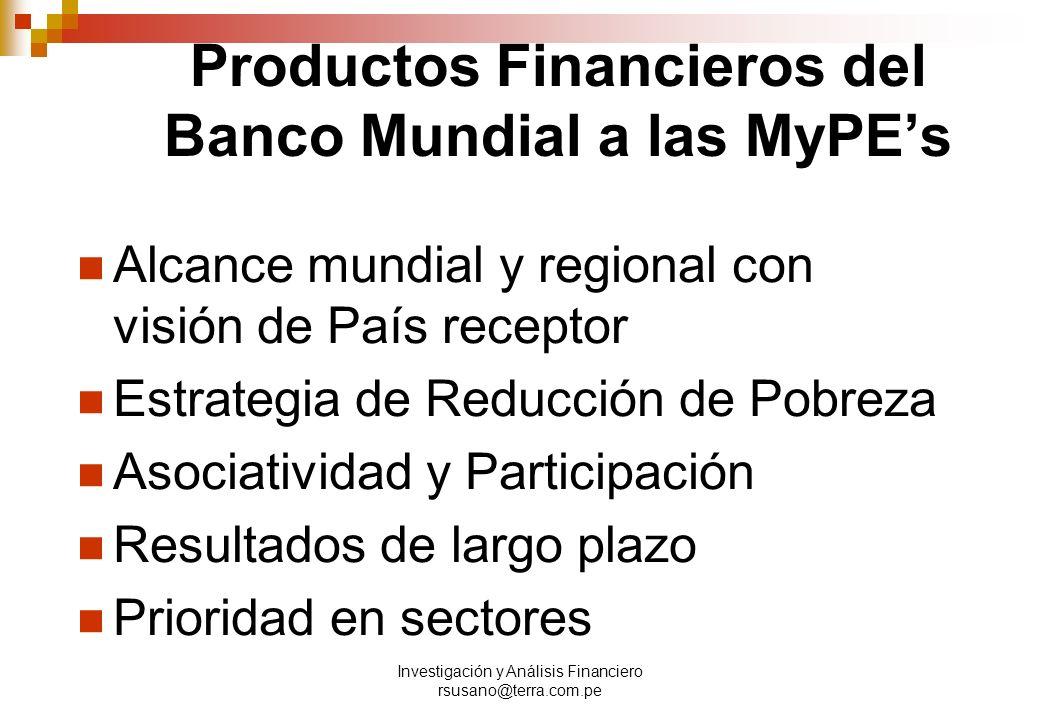 Productos Financieros del Banco Mundial a las MyPE's