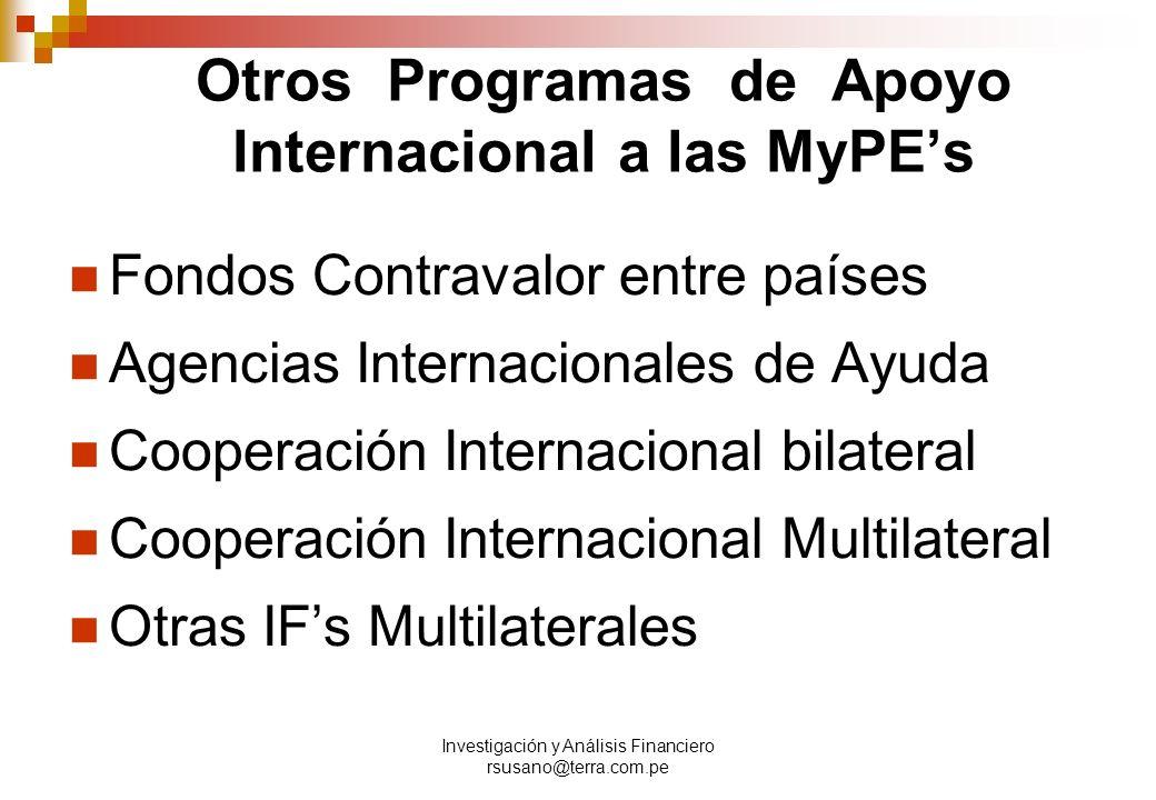 Otros Programas de Apoyo Internacional a las MyPE's