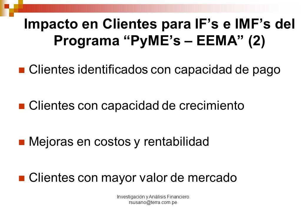 Impacto en Clientes para IF's e IMF's del Programa PyME's – EEMA (2)