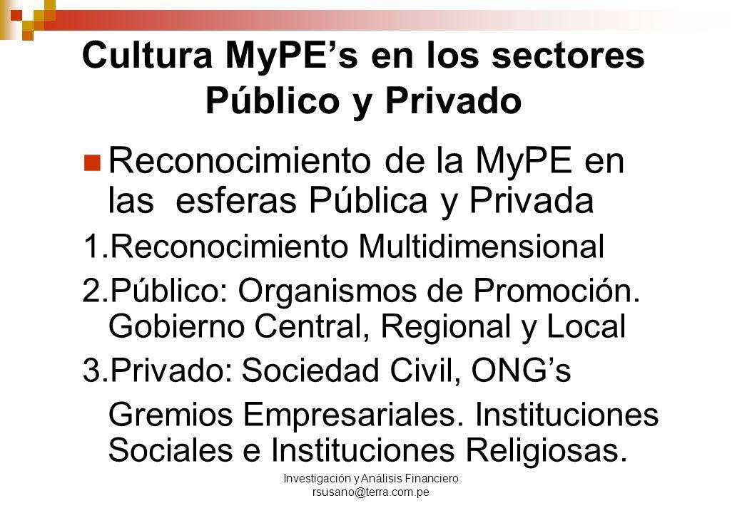 Cultura MyPE's en los sectores Público y Privado
