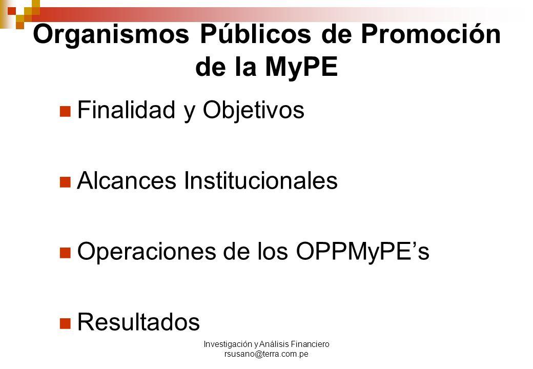 Organismos Públicos de Promoción de la MyPE