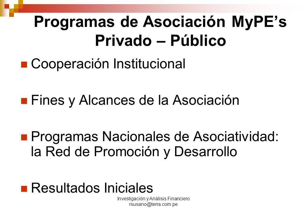 Programas de Asociación MyPE's Privado – Público