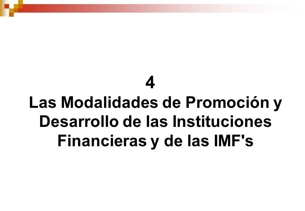 4 Las Modalidades de Promoción y Desarrollo de las Instituciones Financieras y de las IMF s