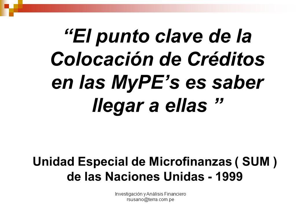 Unidad Especial de Microfinanzas ( SUM ) de las Naciones Unidas - 1999