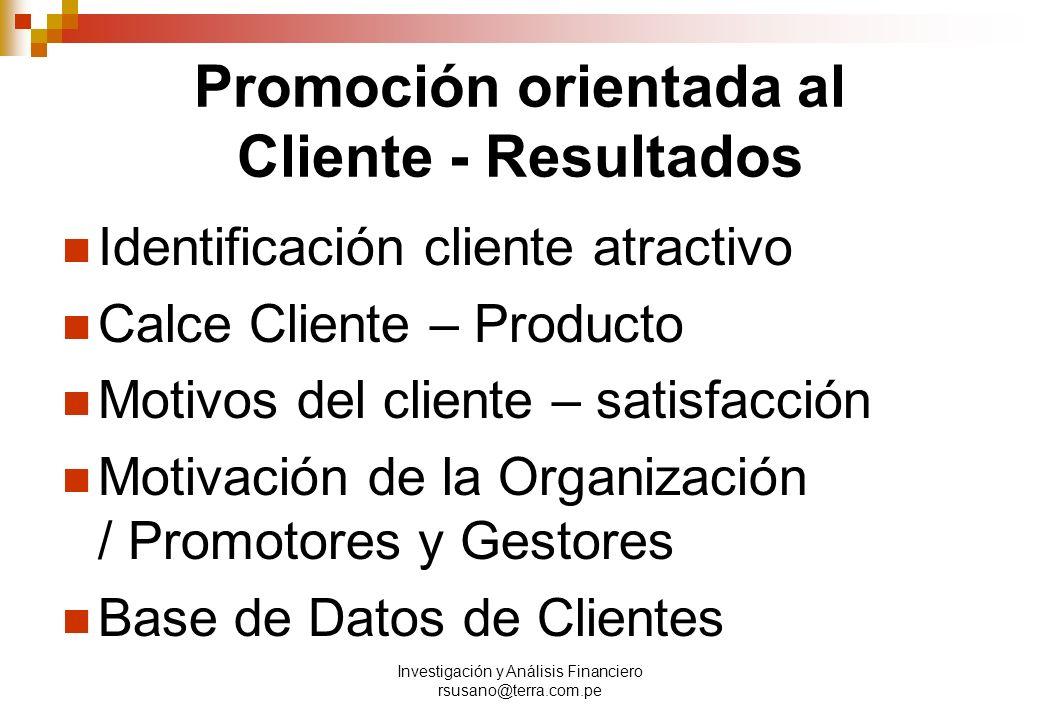 Promoción orientada al Cliente - Resultados