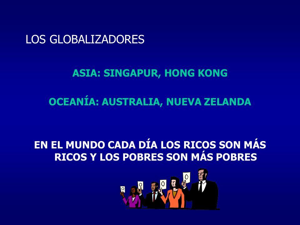ASIA: SINGAPUR, HONG KONG OCEANÍA: AUSTRALIA, NUEVA ZELANDA