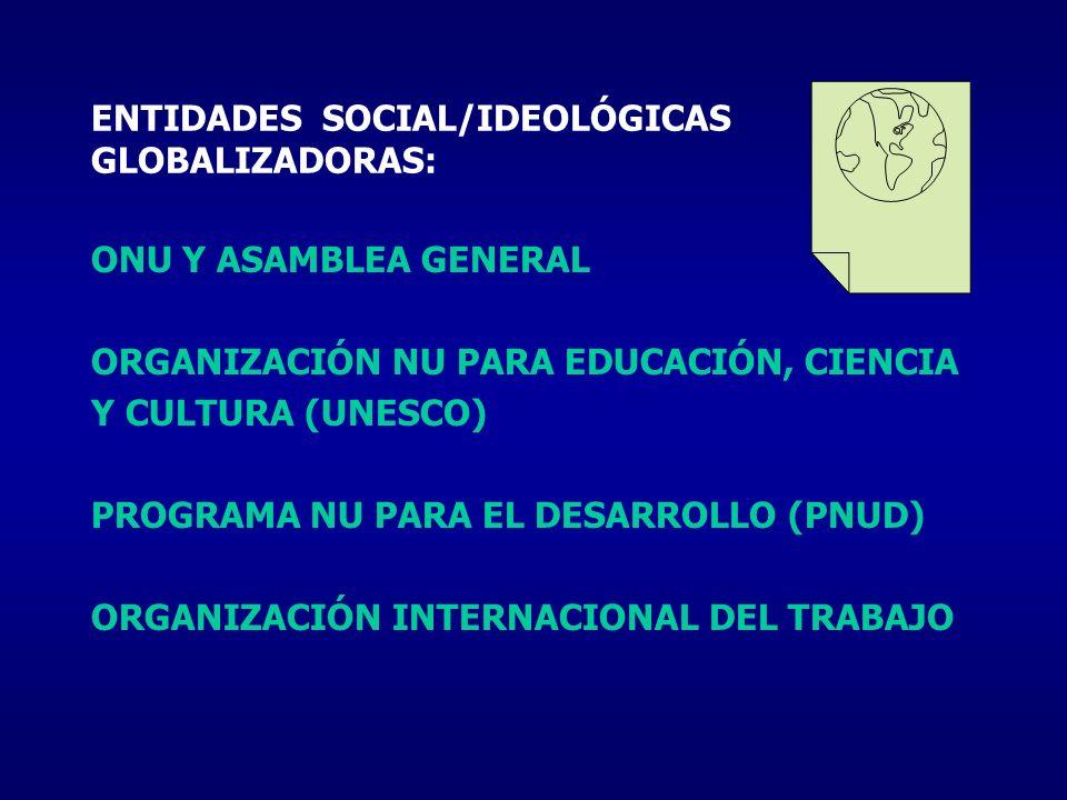 ENTIDADES SOCIAL/IDEOLÓGICAS GLOBALIZADORAS: