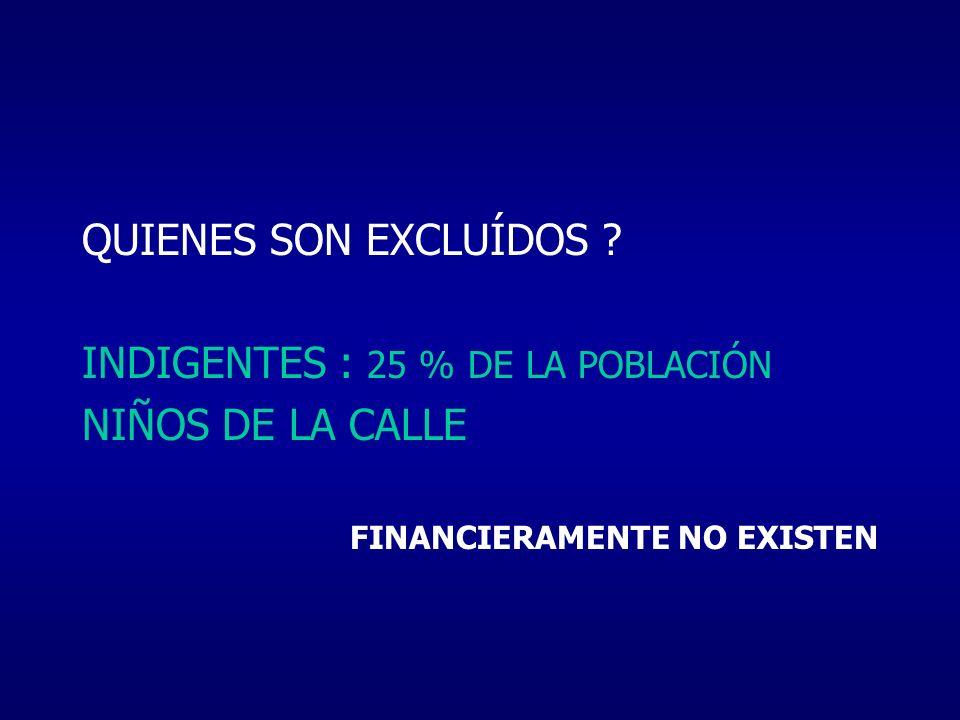 INDIGENTES : 25 % DE LA POBLACIÓN NIÑOS DE LA CALLE