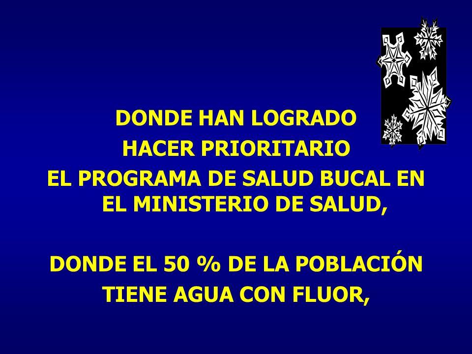 EL PROGRAMA DE SALUD BUCAL EN EL MINISTERIO DE SALUD,