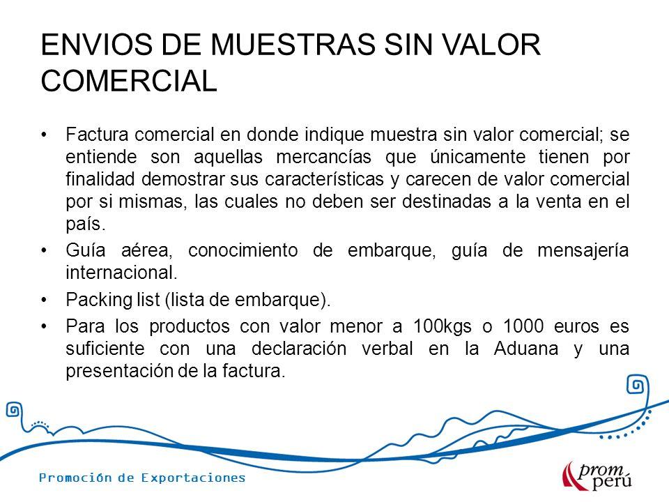 ENVIOS DE MUESTRAS SIN VALOR COMERCIAL