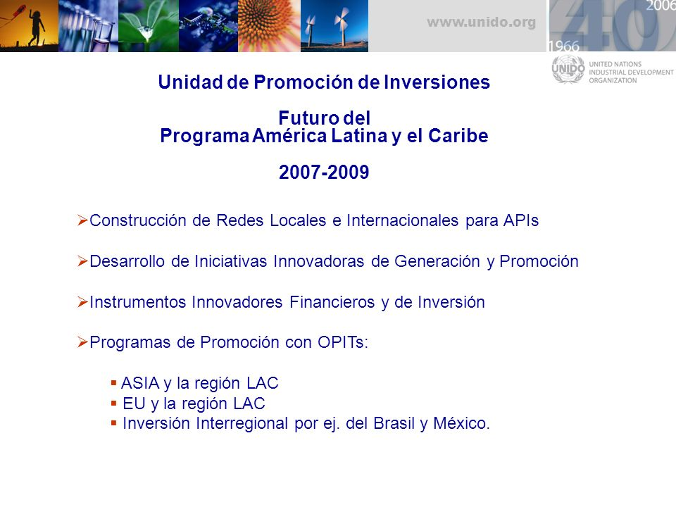 Unidad de Promoción de Inversiones Futuro del Programa América Latina y el Caribe 2007-2009