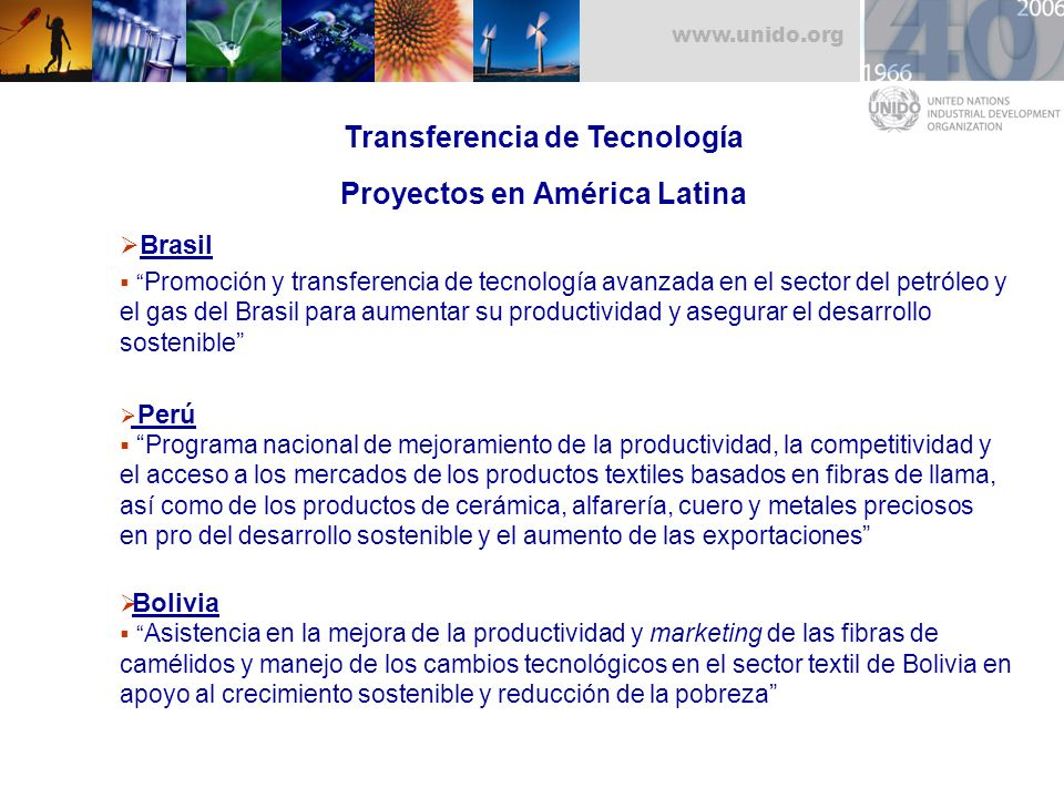 Transferencia de Tecnología Proyectos en América Latina
