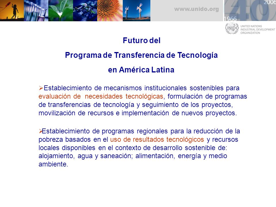 Futuro del Programa de Transferencia de Tecnología en América Latina
