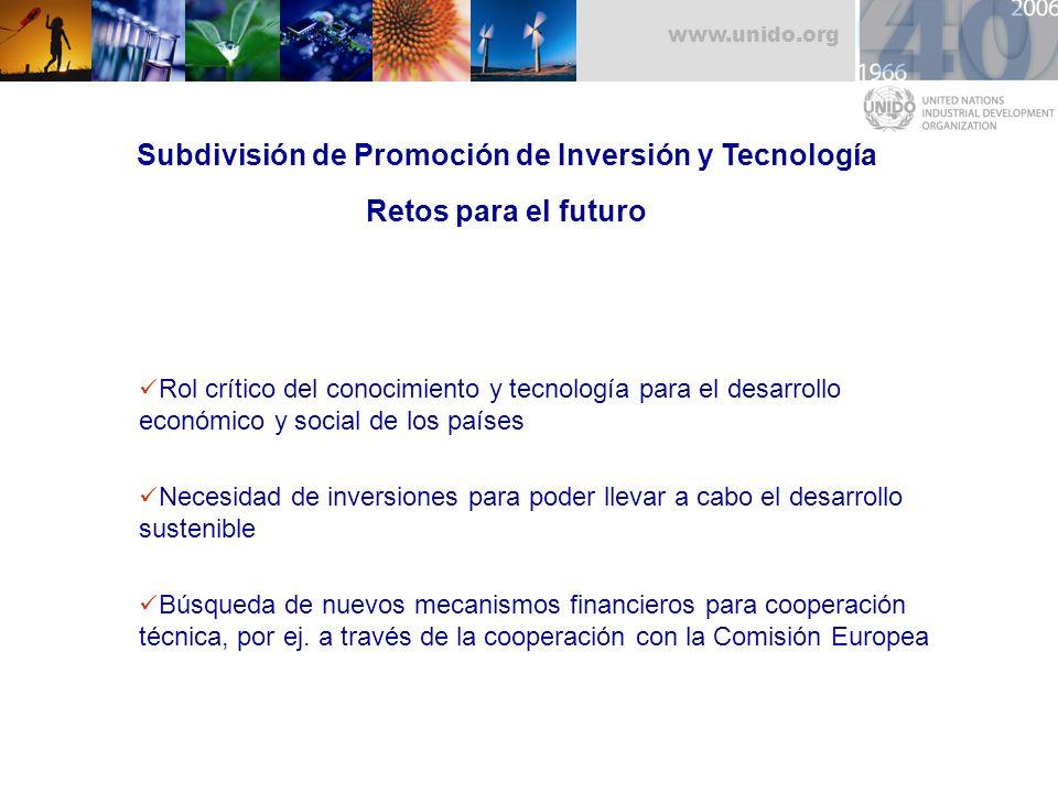 Subdivisión de Promoción de Inversión y Tecnología Retos para el futuro