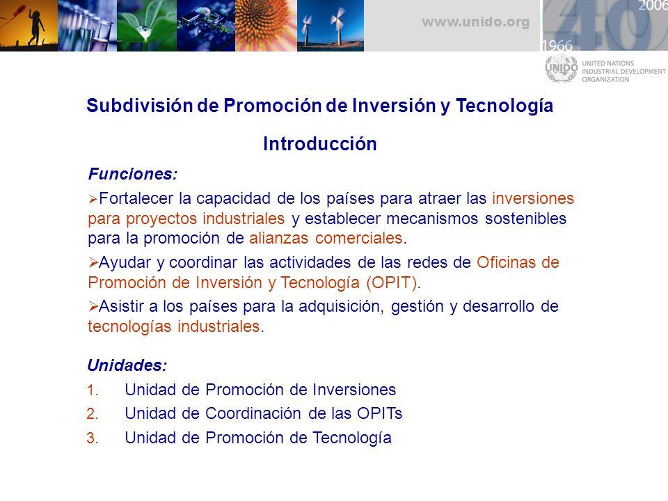Subdivisión de Promoción de Inversión y Tecnología Introducción