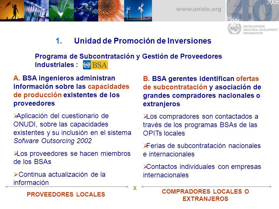 Unidad de Promoción de Inversiones COMPRADORES LOCALES O EXTRANJEROS